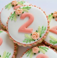 ― Sweet Pea Cookie Co.さん( 「When your bestie's baby turns two, no sweet detail is too many! I can see this design working for…」 Fancy Cookies, Iced Cookies, Cute Cookies, Royal Icing Cookies, Cupcake Cookies, Peach Cookies, Frosted Cookies, Summer Cookies, Cookie Favors