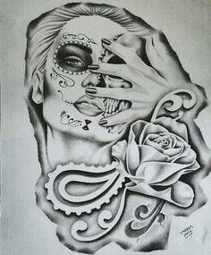 Chicano arte Prison Drawings, Chicano Drawings, Tattoo Drawings, Top Tattoos, Badass Tattoos, Sugar Skull Girl, Sugar Skulls, Cholo Tattoo, Aztec Tattoo Designs
