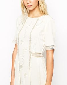 Default (N/A)   ASOS TALL Maxi Dress With Lace Inserts and Floral Embroidery at ASOS