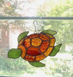Stained Glass Turtle Suncatcher - Turtle Ornament - Beach Decor - Coastal Decor - Sea Creature - Turtle Art - Sea Turtle - Underwater Life