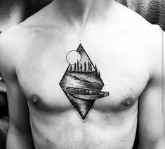 Boat On Lake With Night Sky Guys Modern Small Chest Tattoos