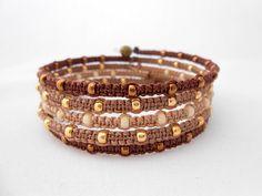 Wrap Bangle Bracelet, Macrame Bracelet, Memory Wire Bracelet, Cuff Bracelet…
