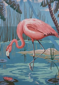 I have a love for flamingos. Vintage Paint By Number Flamingo Large x Flamingo Painting, Flamingo Art, Pink Flamingos, Love Vintage, Vintage Art, Vintage Pink, Illustration Art, Illustrations, Pink Bird