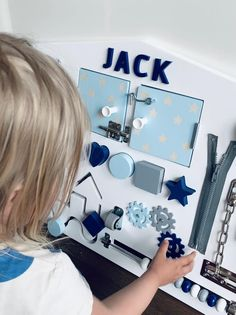 Personalized Busy Board for Toddler – Light Blue/Navy in white background Baby Sensory Board, Toddler Activity Board, Sensory Wall, Sensory Boards, Diy Sensory Toys For Babies, Diy Busy Board, Busy Board Baby, Toddler Busy Board, Toddler Boy Gifts