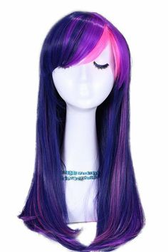 Taobaopit 55cm Long Mixed Purple/ Pink Straight Cosplay Wig