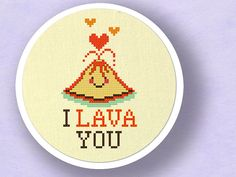 I Lava You Cute Erupting Heart Volcano Pun Cross by andwabisabi