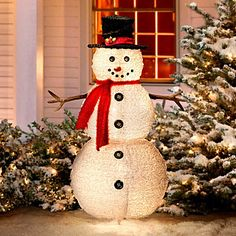 "49"" Fluffy Snowman Outdoor Christmas Decoration"