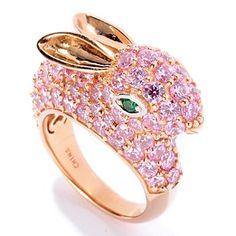 128-409 - Neda Behnam for Brilliante® Gold Embraced™ 5.86 DEW Pink & Green Bunny Ring