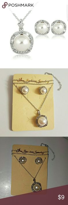 Pearl Rhinestone Necklace Set Pearl Rhinestone Pendant Necklace Earrings Set  This set is classic and cute. Sure to make the perfect statment and get complements.    Material:pearl and rhinestone Pendant size:1.5*2.5CM Necklace Size:45CM Condition:Brand new and high quanlity Jewelry