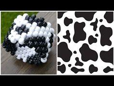 Diy Kandi Bracelets, Pony Bead Bracelets, Bracelet Crafts, Cute Bracelets, Pony Beads, Kandi Cuff, Kandi Patterns, Cow Pattern, Cow Print