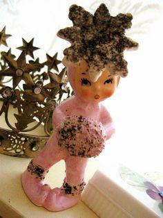 Lefton pink snowflake.  It is somewhat unusual to see pink Christmas figurines.