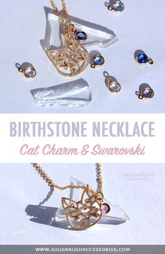 A very dainty Shugarush cat charm necklace with a Swarovski birthstone! Cat Necklace, Dainty Necklace, Gold Necklace, Birthstone Charms, Birthstone Necklace, Cute Jewelry, Unique Jewelry, Tiny Cats, Claddagh