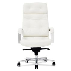 Perot Genuine Leather Aluminum Base High Back Executive Chair | Zuri Furniture