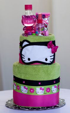 """The """"Hello Kitty"""" Towel Cake. Birthday or Special Event Gifts for Girls."""