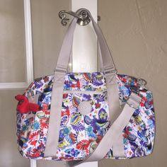 Kipling Itska Solid Duffle Bag Overnight Weekender Travel Whimsy Floral Red  #Kipling #DuffleOvernightBag