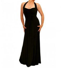 Black Elegant Full Length Evening Dress #womensfashon justblue.com