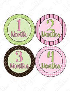 Monthly Onesie Stickers  Alina  Modern Pink by LittleBabyBumblebee
