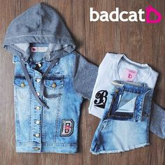 9efde9f74 Jaquetinha jeans + shorts jeans + blusinha badcat = ❤ Look lindo e perfeito  para