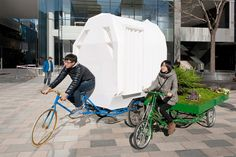 A small dwelling mounted to a tricycle used for temporary, mobile housing. Designed by People's Architecture Office.