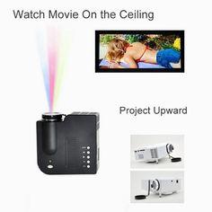 New Portable LED Projector Cinema Theater PC&Laptop iphone ipad VGA/USB/SD/AV/HDMI Input Black
