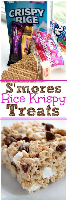 This S'mores Rice Krispy Treats Recipe is addicting! Two of your favorite treats. - This S'mores Rice Krispy Treats Recipe is addicting! Two of your favorite treats in one yummy bar - Rice Krispy Treats Recipe, Rice Crispy Treats, Krispie Treats, Yummy Treats, Sweet Treats, Rice Crispy Bars, Köstliche Desserts, Delicious Desserts, Dessert Recipes