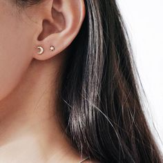 My moon and all my stars... cosmic ear party in our 14K solid gold star and moon stud set  #thingseyelove