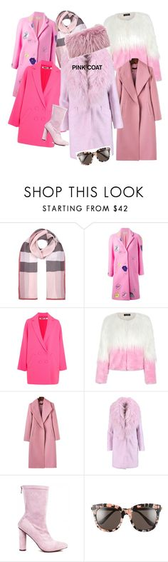"""""""Pink coats"""" by eliza-trofimova ❤ liked on Polyvore featuring Burberry, Christopher Kane, McQ by Alexander McQueen, WithChic, Elizabeth and James, Gentle Monster and Mr & Mrs Italy"""