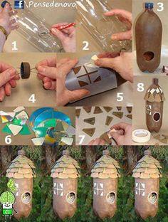 Comedero para pájaros con botellas plásticas y cd reciclados