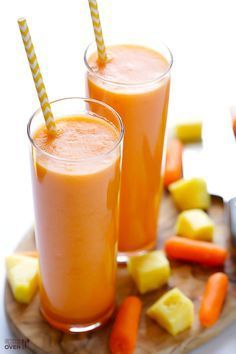 Carrot Pineapple Smoothie — simple, sweet, and oh-so-good. Carrot Pineapple Smoothie — simple, sweet, and oh-so-good. Pineapple Smoothie Recipes, Yummy Smoothies, Juice Smoothie, Smoothie Drinks, Yummy Drinks, Healthy Drinks, Healthy Recipes, Carrot Smoothie, Green Smoothies