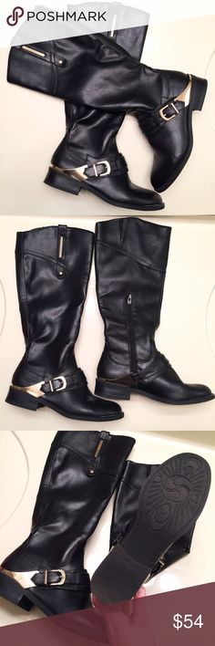 NEW black faux leather boots, side zippers, size 8 New black faux leather boots with side zippers and shiny golden buckles. Women's size 8 Shoes Winter & Rain Boots