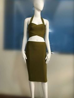 3 Colors Top Quality Newest Red Green Grey 2 Pieces Set Sexy Bandage Dress Party Tight Dress