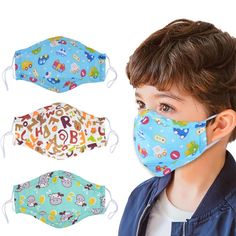 Dust Mask for Kids,Aniwon 3 Pcs Kids Mouth Face Mask with 6 Pcs Activated Carbon Filter Insert,Washable Cute Cotton Mouth Mask with Adjustable Straps (Blue) - SultanBox de máscara de costura Cartoon Mouths, Cartoon Faces, Cartoon Kids, Diy Mask, Diy Face Mask, Random Kid, Nose Mask, Face Masks For Kids, Child Face