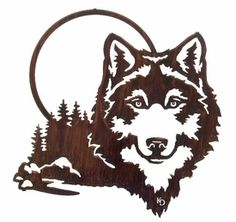 "MOONLT20WHP - 20"" Moonlight Wolf Metal Wall Art by Kathryn Darling"