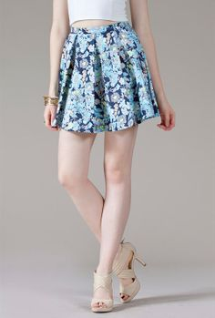 Bouquet Frenzy Pleated Floral Print Skater Skirt in Navy | Sincerely Sweet Boutique