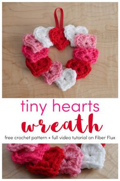 Tiny Hearts Wreath, Free Crochet Pattern + Video on Fiber Flux Crochet Wreath, Knit Or Crochet, Crochet Gifts, Free Crochet, Quick Crochet, Homemade Valentines, Valentine Crafts, Valentines Hearts, Printable Valentine