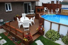 Awesome Outdoor Deck Plans and Layouts: There are so many ideas for the latest decks are presented here in the post. Some are created with unique planters, Above Ground Pool Landscaping, Small Backyard Pools, Backyard Patio, Outdoor Pool, Rectangle Above Ground Pool, Above Ground Pool Decks, In Ground Pools, Pool Deck Plans, Patio Plans