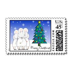Nun Art Christmas Postage Stamps