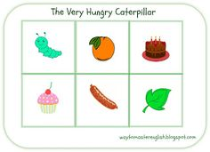 The Very Hungry Caterpillar English Fun, Very Hungry Caterpillar, Eric Carle, Bingo, Game, Food, Essen, Hungry Caterpillar, Gaming