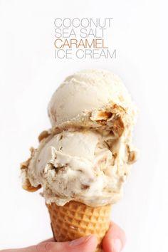 AMAZING-Creamy-Coconut-Ice-Cream-with-Sea-Salt-Caramel-vegan-glutenfree - soulfood - Helados Paleo Dessert, Vegan Desserts, Just Desserts, Dessert Recipes, Salted Caramel Ice Cream, Sea Salt Caramel, Baker Recipes, Dog Recipes, Meal Recipes
