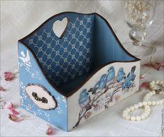 "Купить Короб ""Птичьи трели"" - синий, короб для хранения, короб декупаж, коробка для мелочей"