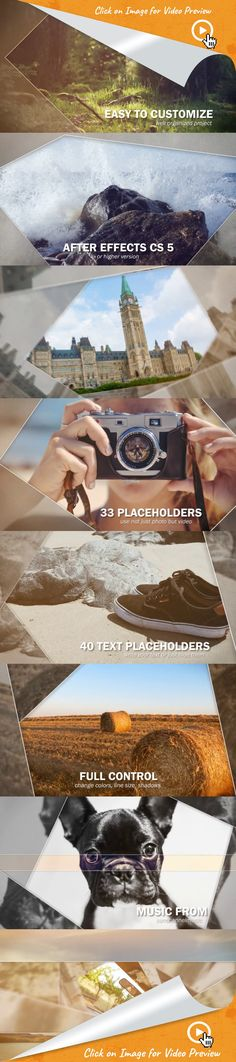 clean, dynamic, gallery, intro, journey, my video, opener, production demo, promo, showreel, slideshow, special event, summer, travel, video display, after effects templates, after effects ideas, after effects motion graphics, after effects projects, videohive projects    	Project features:  33 Media Placeholders 20 Text placeholders Full HD (1080p) resolution After Effects CS5 and above No plugins required Color control Easy Customization – Fast Render Time Video tutorial included Fonts ...