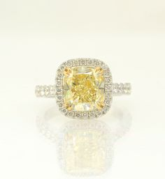 Fancy Yellow Cushion Diamond and Pave Engagement Ring PERFECT