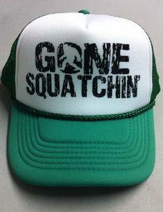 Gone Squatchin  Trucker Hat Funny Sasquatch Novelty by BigtimeTeez 81956abfd27f