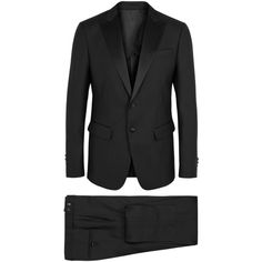 DSQUARED2 Black wool and silk blend tuxedo suit ($2,150) ❤ liked on Polyvore featuring men's fashion, men's clothing, men's suits, mens wool suits and mens tuxedo suits