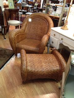 Marvelous Pottery Barn Malabar Chair Rattan And Ottoman; However, Mine Has Off White  Seat Cushion