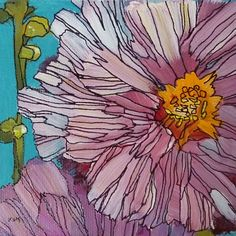 Hollyhock Memories, painting by artist Karen Margulis