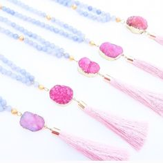 """Pink Druzy Agate Necklace Pink Sacred Druzy Tassel Necklace   • Description: Purple agate and pink druzy + tassel. Agate's healing stones balance a calming energy to ease anxiety, provide courage, strength and hope.  This agate + druzy stone tassel necklace has a 17"""" length bead chain. 24k gold plated around the druzy stone. Handcrafted with l o v e  in the USA.  $38 EACH Twilight Gypsy Collective Jewelry Necklaces"""