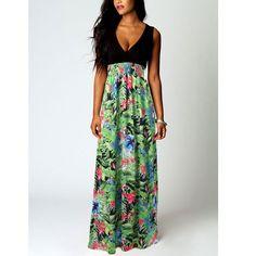 Fashion Printing Princess Deep V-neck Sleeveless Dress