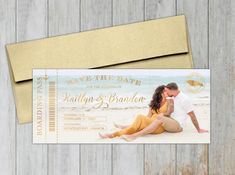 Beach photo save the date card with gold foil stamping for a wedding in Montego Bay Jamaica. Destination Wedding Save The Dates, Destination Wedding Inspiration, Destination Wedding Invitations, Wedding Stationery, Honeymoon Planning, Addressing Envelopes, Save The Date Cards, Ink Color, Are You The One