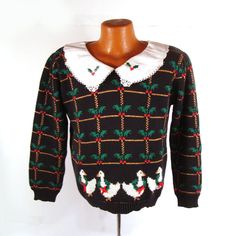 ugly christmas sweater vintage 1980s holiday tacky by purevintageclothing